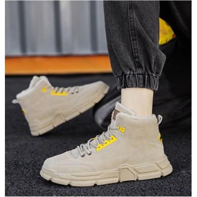 Спортивные высокие кроссовки с мехом бежевые