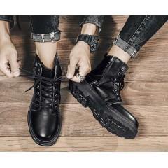 Стильные черные ботинки мужские с молниями