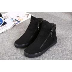Черные высокие кроссовки с молниям женские