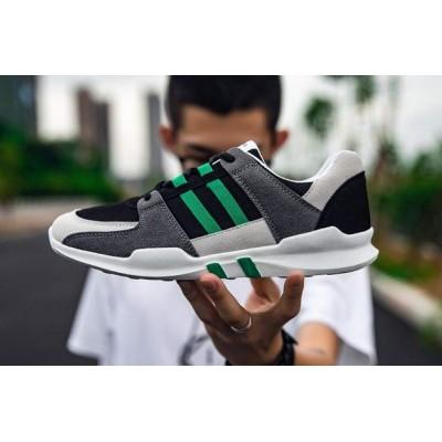 Спортивные кроссовки на шнуровке серый+зеленый