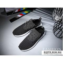 Тканевые темно серые кроссовки на резиновой подошве