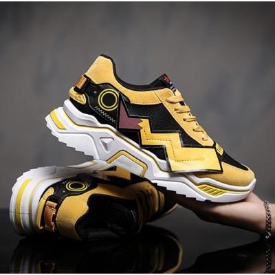 Мужские желтые кроссовки с молниям Пикачу