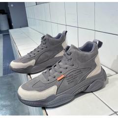 Мужские кроссовки серые с вельветовыми вставками