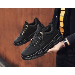 Черные мужские кроссовки из экокожи