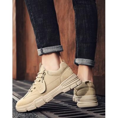 Бежевые мужские кроссовки из экокожи