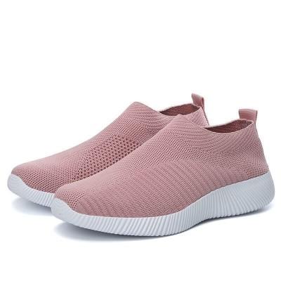 Женские текстильные кроссовки без шнурков розовые