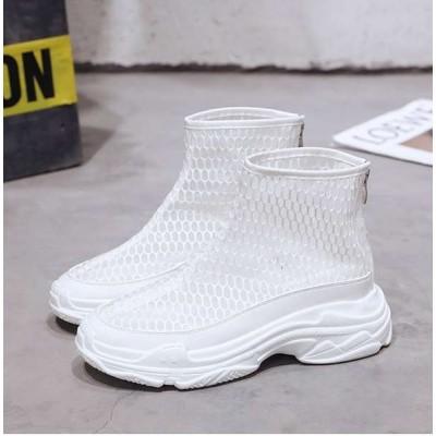 Высокие белые кроссовки в сетку