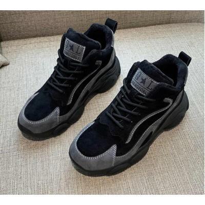 Теплые женские замшевые кроссовки черные