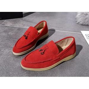 Женские замшевые лоферы в стиле лоро пиано мокасины красные