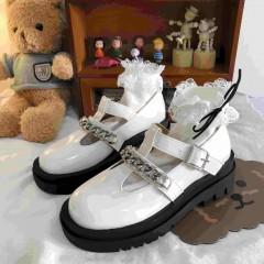 Туфлі Мері Джейн білі з ланцюжком