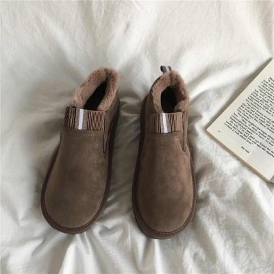 Низкие меховые коричневые замшевые ботинки