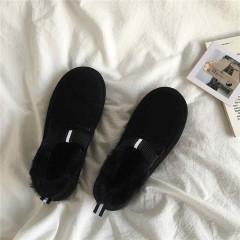 Низкие меховые черные замшевые ботинки