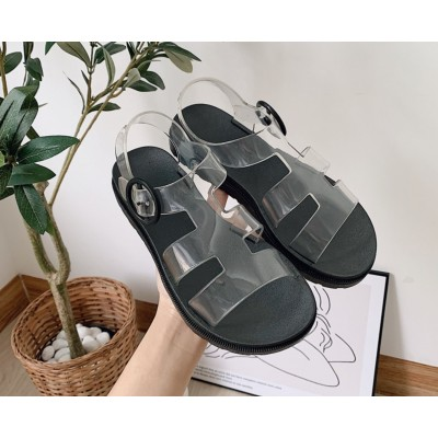 Модные прозрачные сандали женские на черной подошве