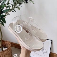 Женские прозрачные сандали тапочки на белой подошве