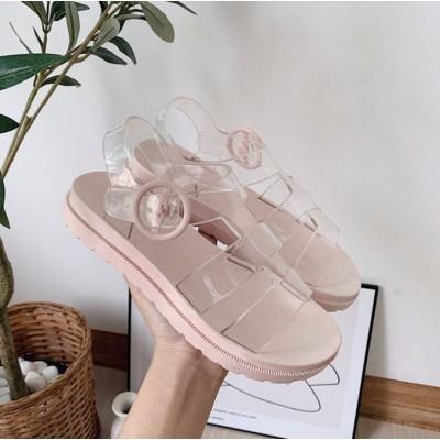 Женские прозрачные летние сандали на розовой подошве