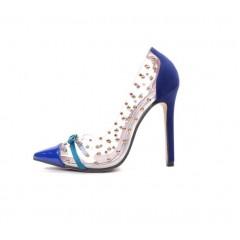 Женские синие туфли c бантиком недорого