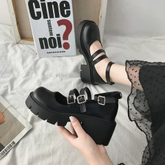 Туфли в стиле лолита - ретро черные на высокой подошве с ремешками