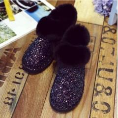 Черные короткие угги с мехом
