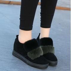 Коротенькие меховые черные+зеленые ботинки женские