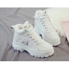 Высокие женские спортивные ботинки кроссовки на меху белые